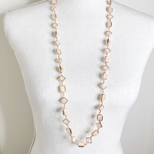 Rose Gold Iridescent Long Geometric Necklace